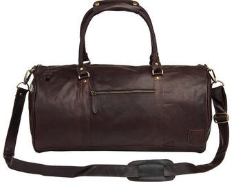 Leather weekend bag - Leather duffle bag - overnight bag - gym bag in Vintage Mahogany by MAHI Leather