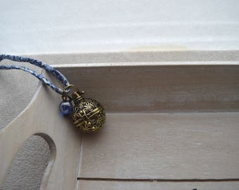 bola de grossesse, ton bleu, cordon en Liberty, perle bleue en verre, cordon coulissant réglable + bracelet assorti offert