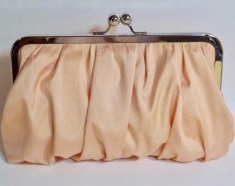 Bridal Clutch or Bridesmaid Clutch Peach Gathered Dupioni Silk