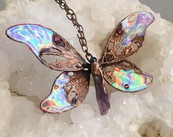 Wearable Art, Amethyst Beads, Butterfly Pendant, Electroformed Jewelry, Copper Necklace, Festival Wear, Clear Quartz, Crystal Healing