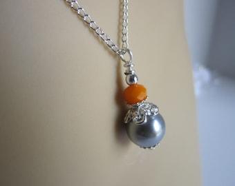 Grey and Orange Bridesmaid Necklace Fall Wedding Autumn Bridesmaid Gift Maid of Honor