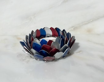 Patriotic Lotus Flower Candle Holder, Red White and Blue Lotus Flower, Chainmaille Lotus Flower Candle Holder, Fourth Of July Candle Holder