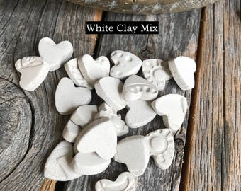 Set of 20 Mini Bisque Heart Mosaic Tiles | Random Patterns Kiln Fired Bisque Tiles | Mosaic supply | Pottery Bisque Mosaic Heart tiles