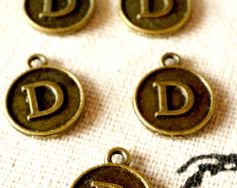 Alphabet letter D charm bronze vintage style jewellery supplies
