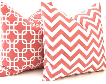 Coral Pillow Decorative Throw Pillow Covers 24 x 24 Inches Combo Pair Pillow Covers Coral Chevron and Chain Link on White