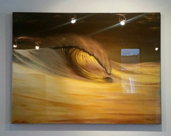 Gold Wave Surf Art Large Acrylic Painting on Wood Panel with Resin Coat 48x36