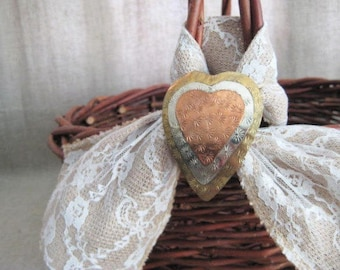 Rustic Basket with Burlap, Lace and Tri-Color Metal Heart / Wedding / Reception / Program Basket / Favor Basket / Vineyard/Farmhouse/Beach