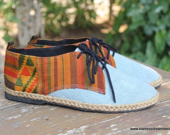 Mens Shoes In Natural Hemp & Colorful Laos Tribal Embroidery Vegan Oxford - Alex