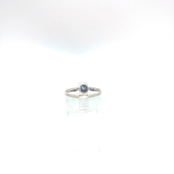 Blue Sapphire Stacking Ring | Sterling Silver Ring Sz 6.5 | Raw Sapphire Ring | Raw Blue Sapphire Jewelry | Raw Stone Stacking Ring
