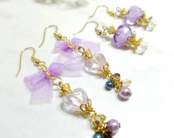 Sailor Moon inspired and Floral earring set of two (Sailor Saturn)