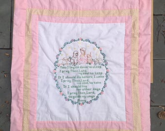 hand made pink quilt or wallhanging with bedtime prayer