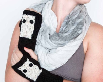 Knit Arm Warmers Cream Owl Gloves Winter Accessories Womens Winter Gloves Black Gloves Knit Armwarmers Texting Gloves Fashion Gloves