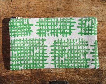 Crosshatch Zipper Pouch, Linocut Block Print, Green