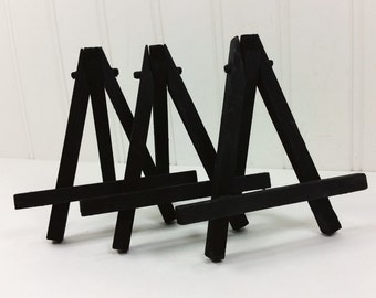 3 Small Black Easels, Miniature Art Tabletop Easel, Place Cards Table Signs Display Holder
