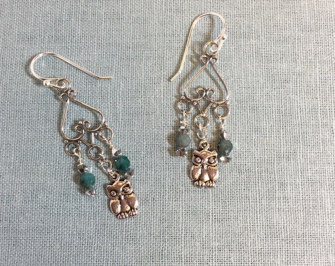 Silver chadeliers with owl charms and apatite