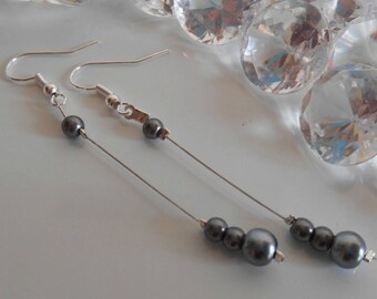 Pearl dangle wedding earrings Pearl grey anthracite