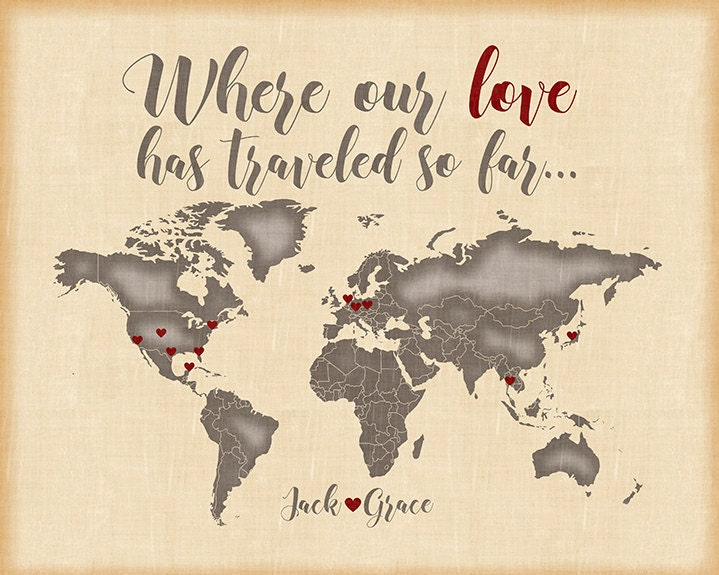 Custom world map wedding gift for couples engagements custom world map wedding gift for couples engagements anniversaries personalized art print quote names love heart passport wf46 gumiabroncs Images