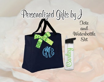 Bridesmaid Gifts Tote and Water Bottle, Bridesmaids Gift, Wedding Tote and Water Bottle Set, Personalized Tote and Water Bottle Party Set