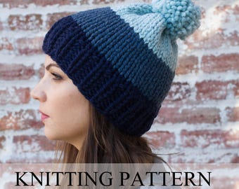 KNITTING PATTERN Ombre Beanie - Ombre Hat Pattern - Easy Hat Pattern - Pom Pom Hat Pattern - Chunky Hat Pattern - Chunky Beanie