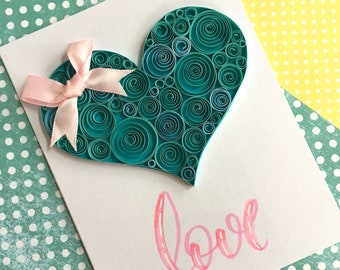 Anniversary card, Quilling, Greeting Cards, Handmade Cards,