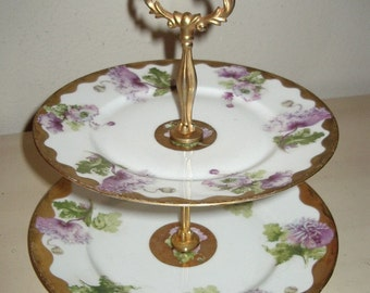 Victorian 2 Tier Handpainted Floral Slovenian China Desert Server Item #402  Antiques/ Collectibles