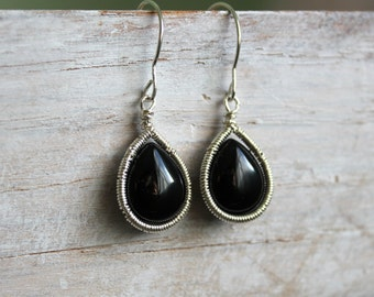 Black Onyx Silver Earrings - Black Gemstone Dangle Earrings - Black and Silver  - Wire Wrapped Handmade Jewelry