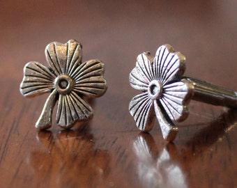 Shamrock Cuff Links, 4-leaf clover cuffs, fourleaf clover cufflinks, St. Patrick's Day gift