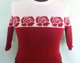Handmade knitted 1940s style two tone jumper with rose pattern and 3/4 sleeves.