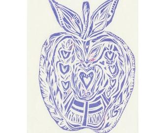 A5 Scandinavian Modern Blue Apple Lino Print // Linocut Print // Printmaking