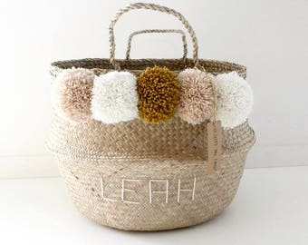 Basket Thai 45 cm tassel beige nude, cream, mustard, custom embroidery