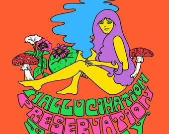 Hallucination Appreciation Society Art Print Illustration by Dawn Aquarius