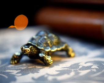 Turtle figurine bronze anniversary gift small metal miniature animal figurine bronze tortoise figure feng shui turtle Mothers day gift