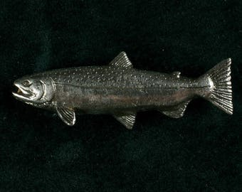 Rainbow Trout pin in sterling silver