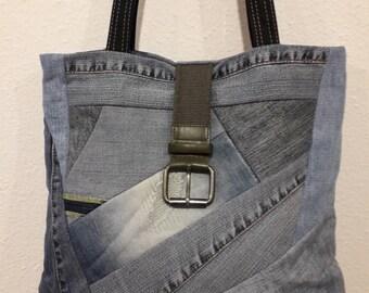 Handmade crazy patchwork recycled denim bag