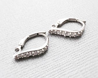 Sterling Silver Leverback, Sterling Leverback Finding, Cubic Zirconia Ear Wires, EWRS064, 12mm x 17mm