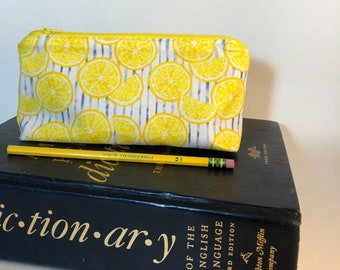 Pencil Case - Lemons - Pencil Pouch - Citrus - Back to School - Glasses Case - School Supply - Small Cosmetic Bag - Graduation Gift
