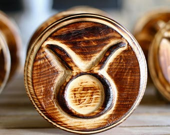 Handcrafted Taurus Zodiac Symbol on Wood Plaque