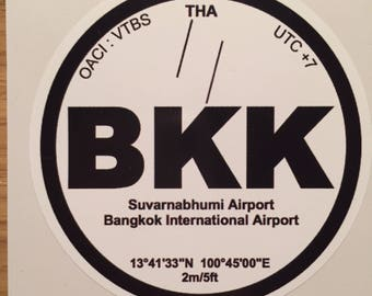 Sticker decal Vinyl BKK Bangkok airplane Aviation Thailand airport car pilot pilot crew airport luggage travel tourism hostess