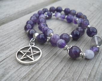 Gemstone Elastic Bracelet - Witches Mind - Amethyst - Yoga Bracelet -  Beaded bracelet - Witch Jewelry - Gift