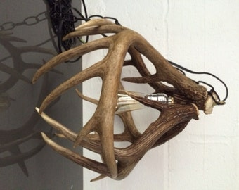 Antler pendant light etsy antler pendant light whitetail deer antler handcrafted natural shed antler lighting rustic country aloadofball