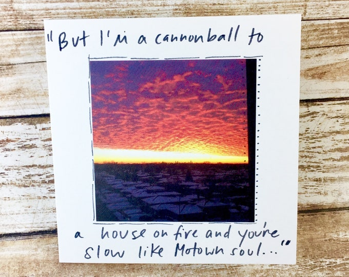 Greeting card with Gaslight Anthem Quote, Brian Fallon, chicago sunrise, unique i love you card, gaslight anthem card, sidesandwich