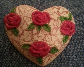 Vintage Heart with Roses Pin