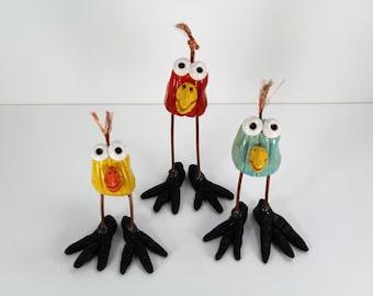 happy bird set, ceramic birds, bird figurines, handmade birds, bird art,  birds