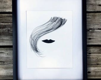 The darling face, women's hair drawing