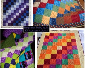 CUSTOM baby quilt kit-Stepping Squares: precut fabric, batting, backing--everything you need--your colors!