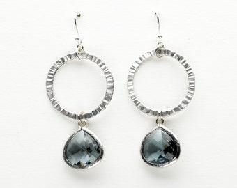 Charcoal Gray Earrings, Sunny Window Earrings, Dangle Earrings, Wedding Jewelry, Bridesmaid Jewelry, Mother's Day