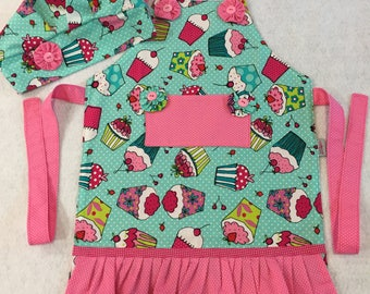 Custom kids Apron and kitchen cap, Cupcake Kids Apron, Full Apron