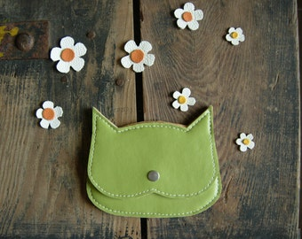 50% off, end of stock,Pistachio green Cat coin purse in  faux leaether, black crazycatlady pouch