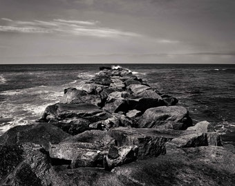 Black and White Ocean Seascape Jetty Photography - Ocean Waves Rocks Stone Texture Coastal Beach Fine Art Photography Print