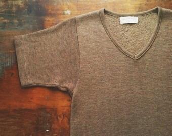 Vintage 1960s Heather Brown Fleece V-neck Knit Shirt (xs/s)